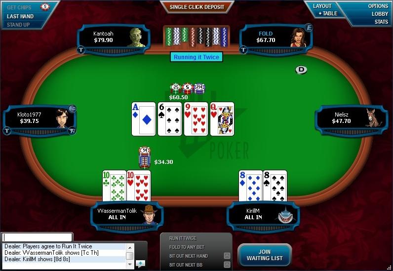 игровой стол покерного клиента Full Tilt Poker