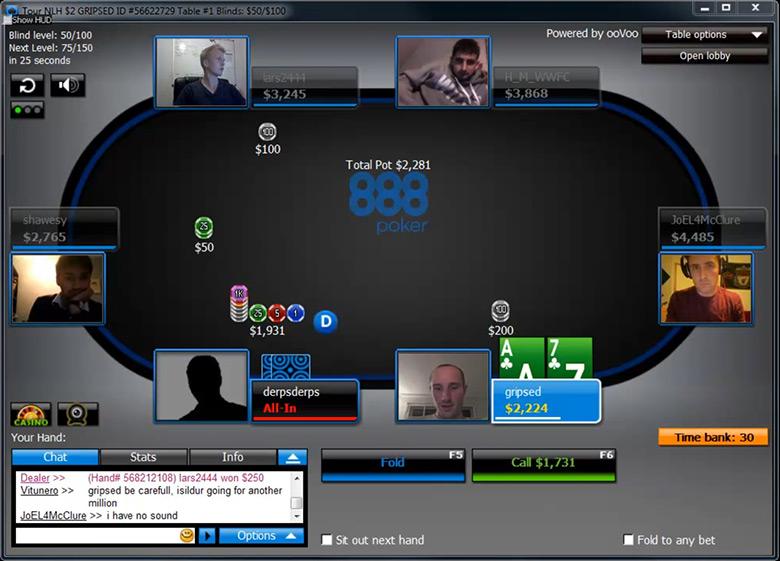 Камера на лицо - при игре в покер по веб-камере.